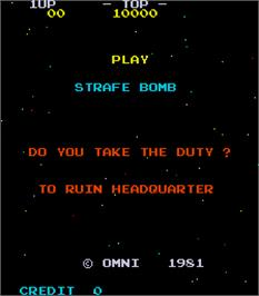 Title screen of Strafe Bomb on the Arcade.