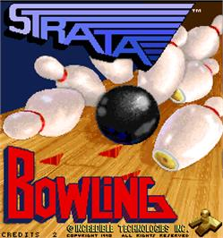 Title screen of Strata Bowling on the Arcade.