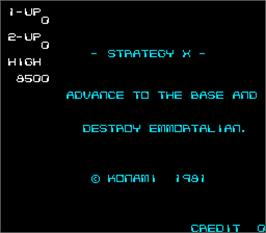 Title screen of Strategy X on the Arcade.