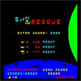 Title screen of Stratovox on the Arcade.