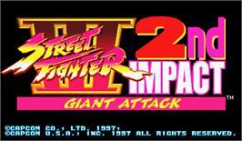 Title screen of Street Fighter III 2nd Impact: Giant Attack on the Arcade.