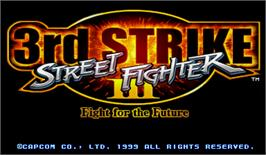 Title screen of Street Fighter III 3rd Strike: Fight for the Future on the Arcade.