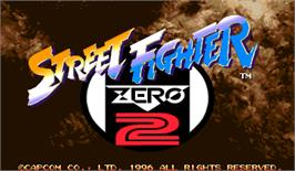 Title screen of Street Fighter Zero 2 on the Arcade.