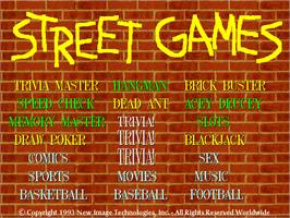 Title screen of Street Games II on the Arcade.