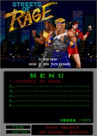 Title screen of Streets of Rage on the Arcade.