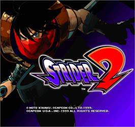 Title screen of Strider 2 on the Arcade.