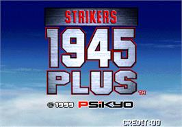 Title screen of Strikers 1945 Plus on the Arcade.