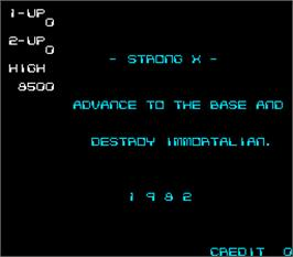 Title screen of Strong X on the Arcade.
