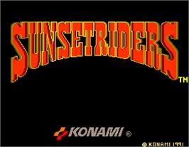 Title screen of Sunset Riders on the Arcade.