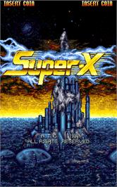 Title screen of Super-X on the Arcade.