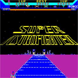 Title screen of Super Astro Fighter on the Arcade.