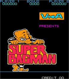 Title screen of Super Bagman on the Arcade.