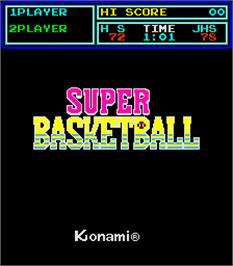 Title screen of Super Basketball on the Arcade.