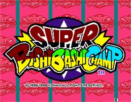 Title screen of Super Bishi Bashi Championship on the Arcade.