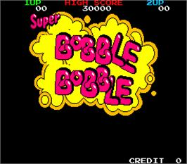 Title screen of Super Bobble Bobble on the Arcade.