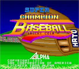 Title screen of Super Champion Baseball on the Arcade.
