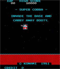 Title screen of Super Cobra on the Arcade.