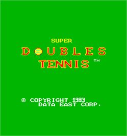 Title screen of Super Doubles Tennis on the Arcade.