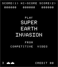 Title screen of Super Earth Invasion on the Arcade.
