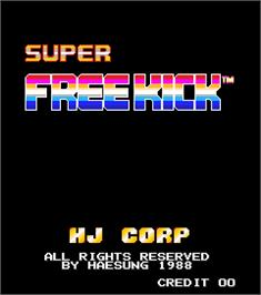 Title screen of Super Free Kick on the Arcade.