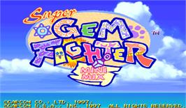 Title screen of Super Gem Fighter Mini Mix on the Arcade.