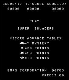 Title screen of Super Invaders on the Arcade.