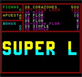 Title screen of Super Loco 93 on the Arcade.