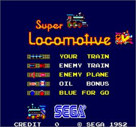 Title screen of Super Locomotive on the Arcade.
