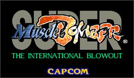 Title screen of Super Muscle Bomber: The International Blowout on the Arcade.
