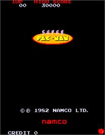 Title screen of Super Pac-Man on the Arcade.