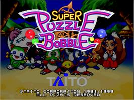 Title screen of Super Puzzle Bobble on the Arcade.