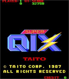 Title screen of Super Qix on the Arcade.