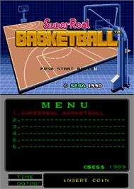 Title screen of Super Real Basketball on the Arcade.