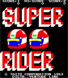 Title screen of Super Rider on the Arcade.