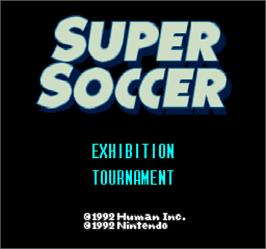 Title screen of Super Soccer on the Arcade.