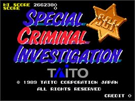 Title screen of Super Special Criminal Investigation on the Arcade.