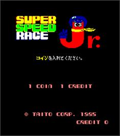 Title screen of Super Speed Race Junior on the Arcade.