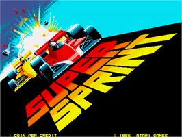 Title screen of Super Sprint on the Arcade.