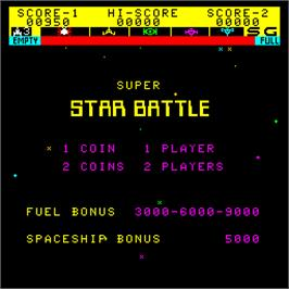 Title screen of Super Star Battle on the Arcade.