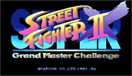 Title screen of Super Street Fighter II X: Grand Master Challenge on the Arcade.