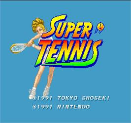 Title screen of Super Tennis on the Arcade.