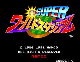 Title screen of Super World Stadium on the Arcade.
