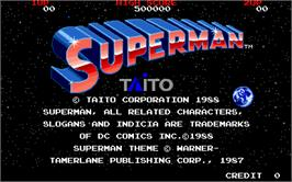 Title screen of Superman on the Arcade.