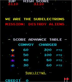 Title screen of Swarm on the Arcade.