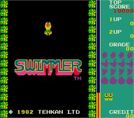 Title screen of Swimmer on the Arcade.