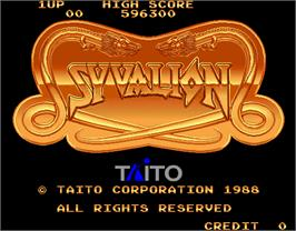 Title screen of Syvalion on the Arcade.