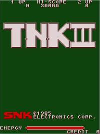 Title screen of T.N.K III on the Arcade.