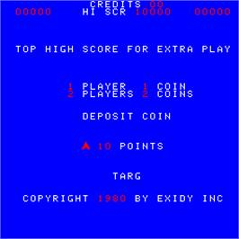 Title screen of Targ on the Arcade.