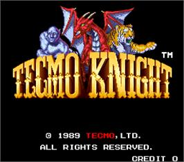 Title screen of Tecmo Knight on the Arcade.