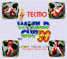 Title screen of Tecmo World Cup '90 on the Arcade.